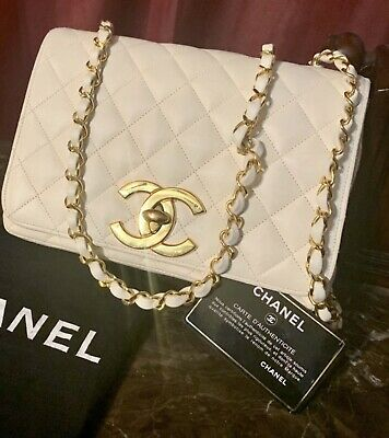 Chanel rare Off White Flap xL Cc Logo 24k Plated
