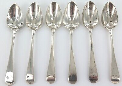 .1827 King George Iv Matching Set Of 6 English Sterling Silver Teaspoons.