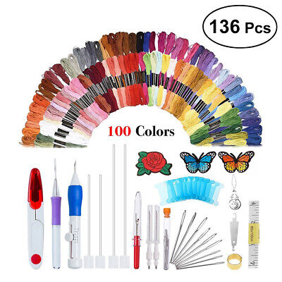 136Pcs Embroidery Needle Pen Kit Set Craft Punch Magic DIY Knitting + 100 Thread