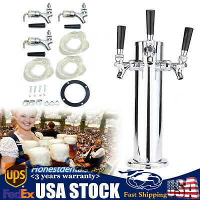 3 Taps Draft Beer Tower Triple Faucet Stainless Steel Homebrew Bar Party Silver