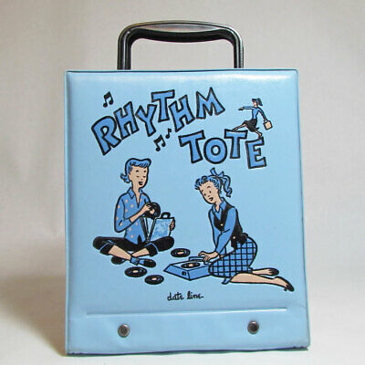Date Line Rhythm Tote With Handles Ponytail Girls Blue Vinyl 45 Record Holder