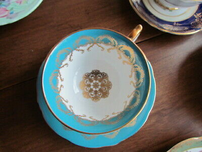 Golden Lace Aynsley Tea Cup Saucer Set Turquoise Excellent Bone China England