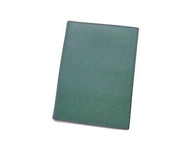 Auth HERMES Circle R (1988) Note/Agenda Cover Green Leather - e41567