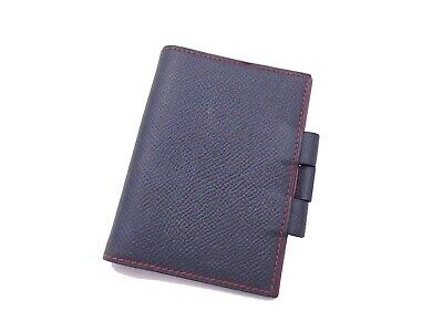 Auth HERMES Circle Z (1996) Mini Agenda Cover Navy Blue/Blue Leather - e41568