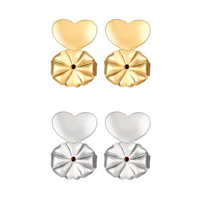2 Pairs Magic Earrings Backs Lifter Support Lifts Hypoallergenic Sliver Gold AU