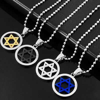 AU_ Unisex Fashion Stainless Steel Pendant Jewish Star of David Necklace Jewelry
