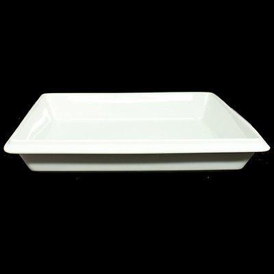 White Ceramic Gastronorm 1/2 Dish 33 x 28 x 5.5cm Deep Serving Catering D2G