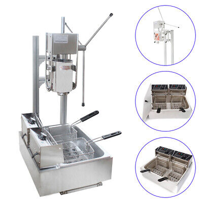 3L Stainless Steel Commercial Manual Spanish Churro Maker Machine+12 L Fryer NEW