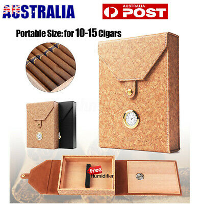 🔥 15 Count Cigar Humidor Humidifier Leather Wood Lined Case Box with Hygrometer
