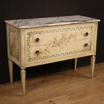 Dresser lacquered chest of drawers painted wood furniture commode marble top
