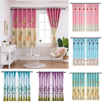 Printing Polyester Flowers Window Blinds Drapes Living Room Blackout Curtains
