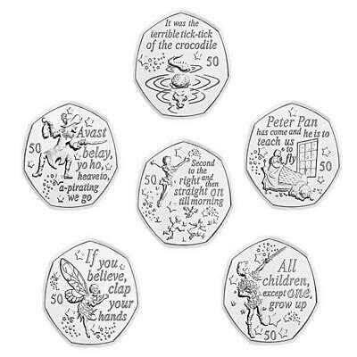 2019 Isle of Man Tower Mint Uncirculated 90th Anniversary Peter Pan 50p Coins