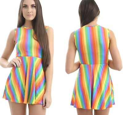 Ladies Girls Rainbow Skater Dress Sleeveless Gay Pride Party Flared Fancy Dress