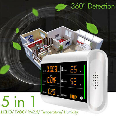 5 IN 1 HCHO TVOC PM2.5 Air Quality Detector Dust LCD Display Monitor Sensor Home