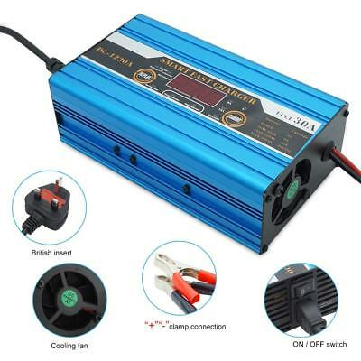 30A Max 12V Leisure Battery Charger Motorhome Smart Charger LCD Show Fast Charge