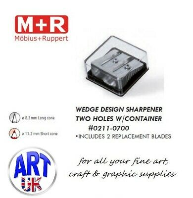 Mobius & Ruppert Professional Artists Magnesium TWIN HOLE WEDGE Pencil Sharpener