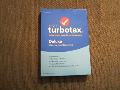 NEW UNOPENED Intuit Turbotax Deluxe Federal + State 2018 Disc CD