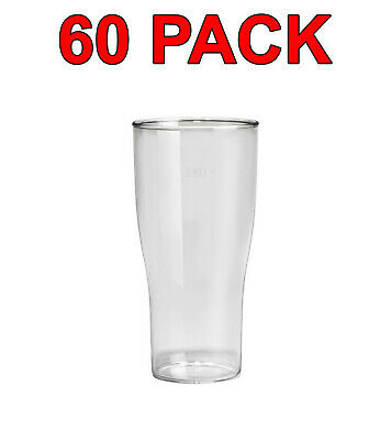 Eco-Friendly Reusable Plastic Beer Glass Glasses Party Catering 520ml 60 Pack