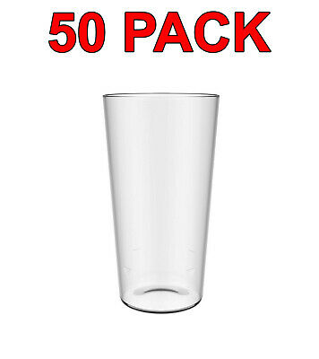 Eco-Friendly Reusable Plastic Pint Glass Beer Glasses Party Catering 600ml 50Pc