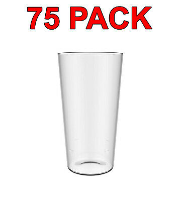 Eco-Friendly Reusable Plastic Pint Glass Beer Glasses Party Catering 600ml 75Pc