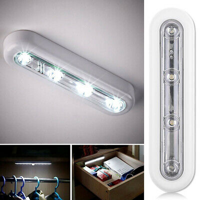 Night Light LED Touch Operated Battery Stick On Wall Lamp Under Cabinet Cupboard