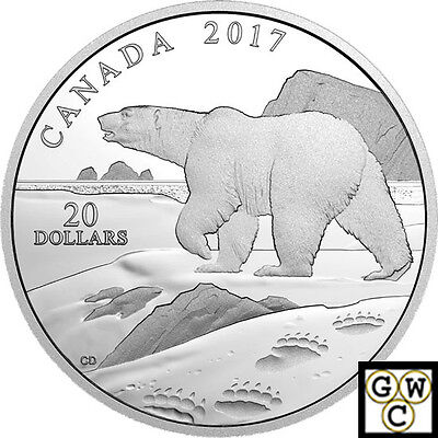 2017Polar Bear-Nature's Impression' Prf $20 Silver Coin 1oz .9999Fine(NT)(17983)