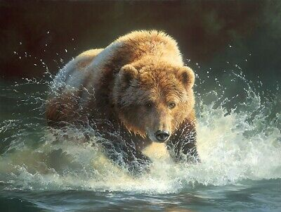 The bear Tsunami Hand-painted oil painting wall art home decor 24x36 inch