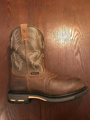 f28e8547be4 MENS ARIAT WORKHOG Pull On Tan Leather Work Boots sz 11 D - $56.55 ...