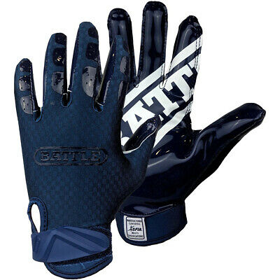 Battle Sports Science Triple Threat Adult Football Receiver Gloves - Navy