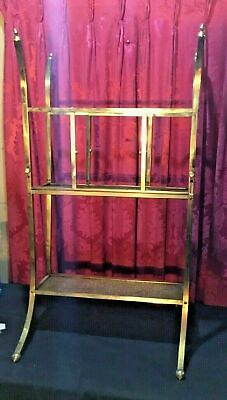 Antique Aesthetic Floral Embossed Brass Victorian Canterbury Stand