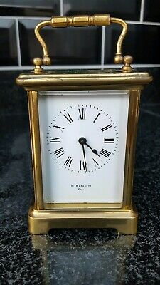 Antique 4 glass Brass Carriage clock W Margrett Paris