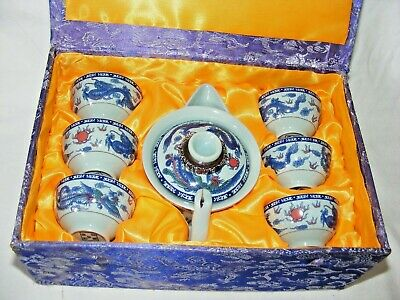 Vintage Chinese Miniature Teaset Teapot Cups Teabowls In Silk Box Dragon Decor