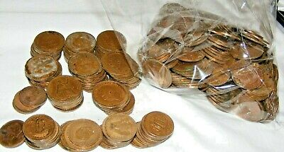 Vintage & Antique Job Lot Of Over 300 Old Pennies And Half Pennies Coins