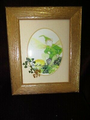 "Framed Fowers of Ireland ""Irish Shamrock Fairy"" Picture"