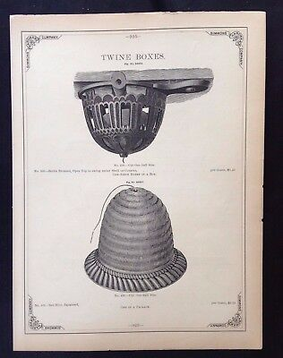 1888 Vintage Simmons Hardware Catalog Page ~ Twine Holders~ Cheese Butter Tryers