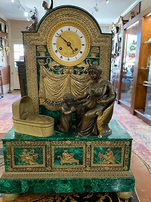 Rare ANTIQUE 1770 FRENCH Gilded Bronze Empire Clock W/Russian Malachite.