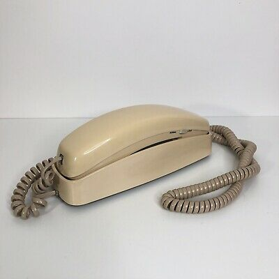AT&T Ivory Trimline 210 Phone w Cord Works Vtg Desk Wall Touch Tone Mute Button