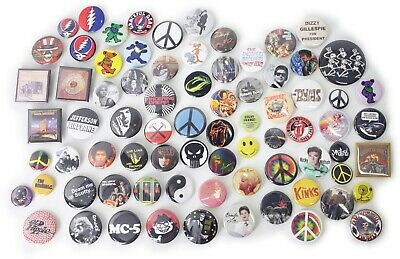 1960's Music Band Buttons Pins Badges 80+ DESIGNS Mix & Match Gifts