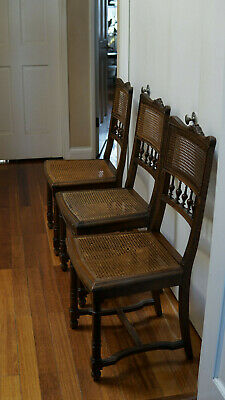 Set 6 Antique Henri Iii Oak & Cane Chairs, 1930S-1940S, Free Pickup!