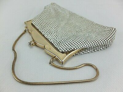 Vintage Elegant GLOMESH White and Gold Purse with Strap - Made in Australia
