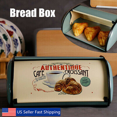 French Retro Metal Bread Box Bin Cafe Kitchen Storage Containers Roll Top Lid US