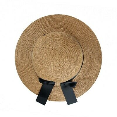Vintage Women Bow Hat Foldable Wide Brim Summer Sun Beach Straw Hat Round Caps