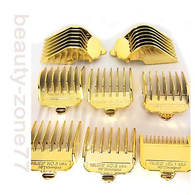 Gold  Professional Cutting Hair Clipper Premium Guides Combs Guards  8 pcs