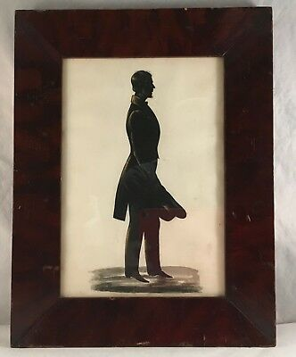 Antique Folk Art Hand Painted Silhouette Portrait Figure Study Man With Top Hat