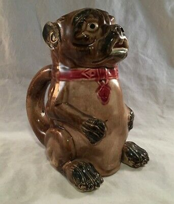 Antique Victorian Majolica Art Pottery Figural Pug Or Bull Dog Pitcher