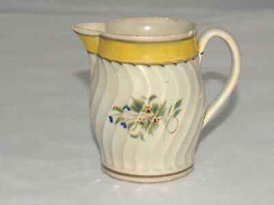 Antique Pearlware China Hand Painted Flower Decorated Cream Pitcher Creamer