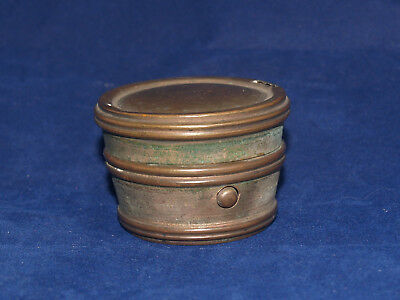 Antique Victorian Traveling Inkwell Brass Late 19Th Century