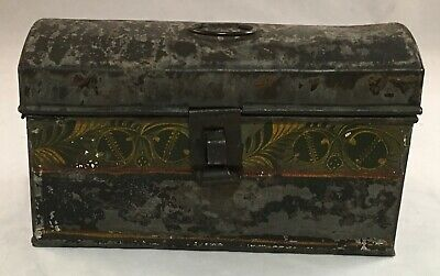 Antique Small Tinware Toleware Tole Decorated Tin Metal Dome Top Document Box