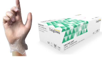 Unigloves Powder Free Strong Latex Disposable Multipurpose Gloves Box 100
