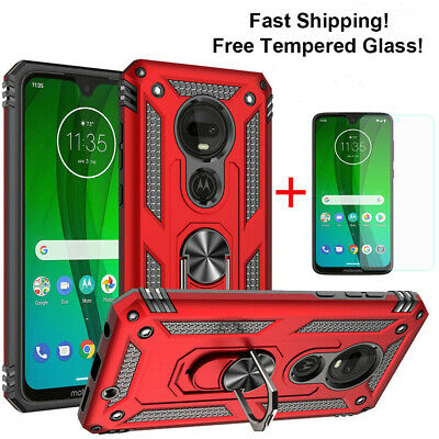 For Motorola Moto G7 Power/G7 Supra Case With Magnetic Ring Stand Rugged TPU